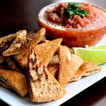 Salsa Cruda with Baked Garlic & Lime Pita Chips