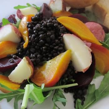 Black Lentil Beet Salad with Yogurt Vinaigrette