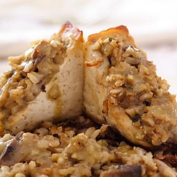 Tofu Stuffed with Brown Rice and Mushroom Dressing