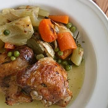 Roast Chicken Thighs with Fennel and Peas
