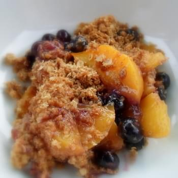 Oaty Peach and Blueberry Crumble