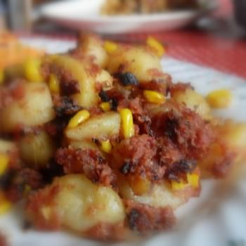 Corned Beef, Sweet Corn and Red Onion Hash