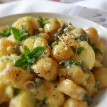 *Warm Potato Salad with a Caper, Spring Onion and Mint Vinaigrette*