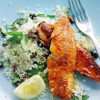 Spiced Fried Fish With Lemon Pistachio Couscous