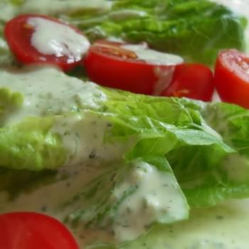Little Gems with a Creamy Basil Dressing