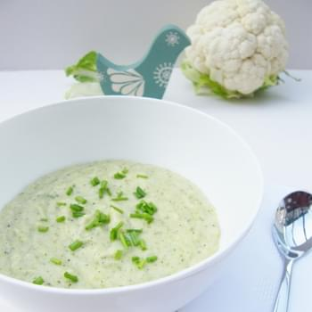 Cauliflower Cheese Soup with Broccoli
