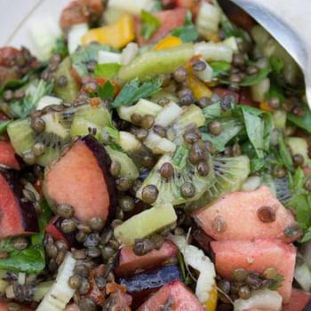 Puy Lentil Salad with Plum & Kiwi in a Maple Dressing