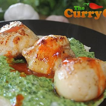 Seared Scallops With A Spicy Avocado And Coriander Raita