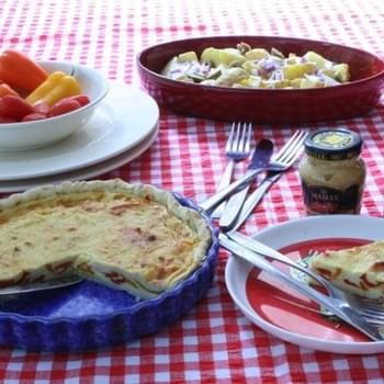 Baby pepper quiche with sundried tomato Maille mustard