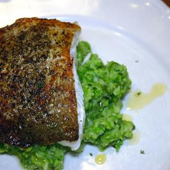 Pan-fried Skrei With Pea And Cauliflower Crush