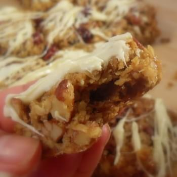 *Cranberry, Pecan and White Chocolate Flap Jacks*