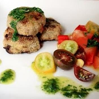 Turkey Chilli Burgers with Three Tomato Salsa and Herb Dressing