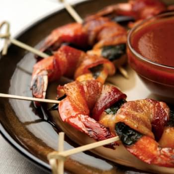 Bacon Basil-Wrapped Shrimp