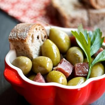 Warm Spanish Olives with Salami