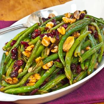 Roasted Green Beans with Cranberries and Walnuts