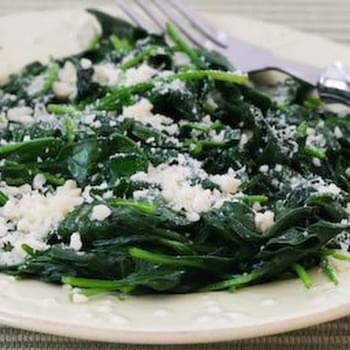 Stir-Fried Spinach with Garlic and Parmesan