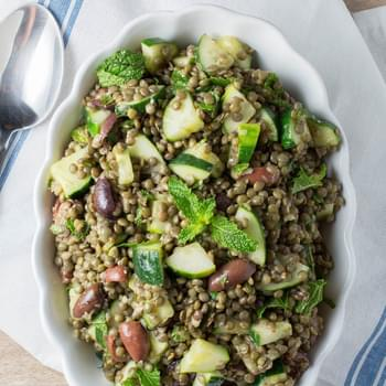Cold Lentil Salad with Cucumbers and Olives