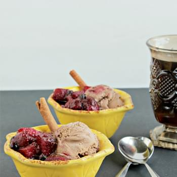 Spiced Berry Apple Compote (with Chocolate Ice Cream)