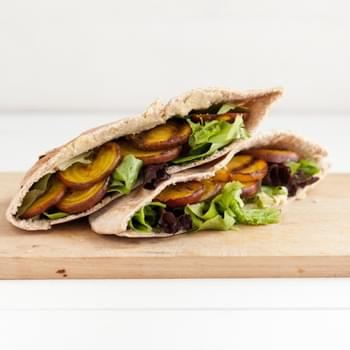 Grilled Beet and Hummus Stuffed Pita