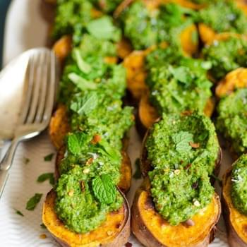 Roasted Sweet Potato Slices with Cilantro Pesto