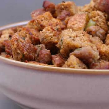 South Beach Friendly Whole Wheat Stuffing with Sage, Italian Sausage, and Pears