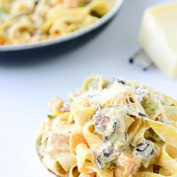 Creamy Butternut, Bacon and Leek Pappardelle