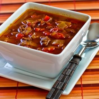Goulash Soup with Red Peppers and Cabbage