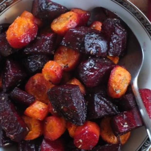 Roasted Beets and Carrots with Rosemary Garlic Butter