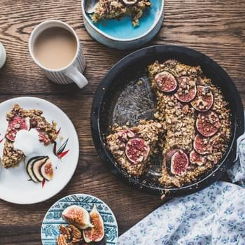 Baked Fig and Date Oatmeal with Pecan Streusel
