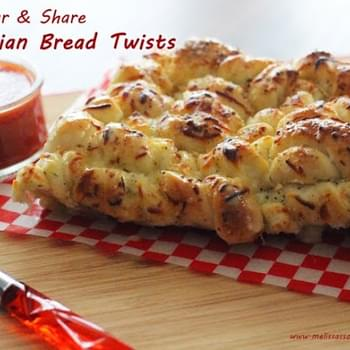 Tear and Share Cheesy Italian Bread Twists