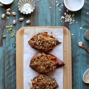 Oat and Pistachio Crumble Topped Baked Sweet Potatoes