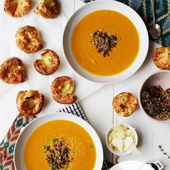 Creamy Spiced Squash Soup with Parmesan Thyme Popovers