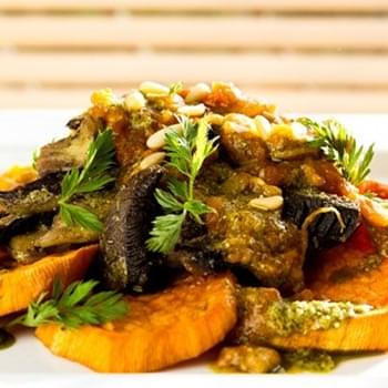 Warm Pesto Mushrooms and Roast Sweet Potatoes