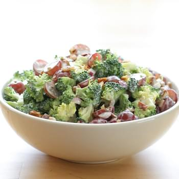 Balsamic Broccoli Salad with Grapes and Pecans