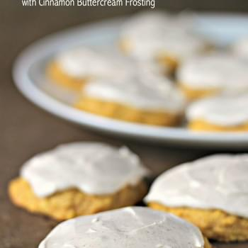 Soft Pumpkin Cookies with Cinnamon Buttercream Frosting