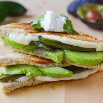 Roasted Jalapeno and Avocado Grilled Cheese Sandwich