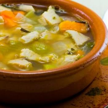 Turkey and Cannellini Bean Soup with Sweet Potatoes and Rosemary