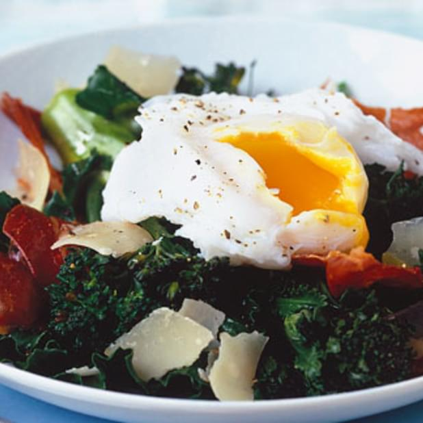 Purple Sprouting Broccoli With Prosciutto And Duck Egg