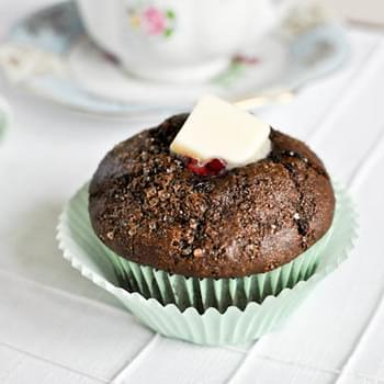 Dark Chocolate Blueberry Muffins