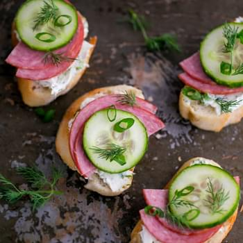 Kielbasa and Cucumber Crostini + Canapé Roundup!