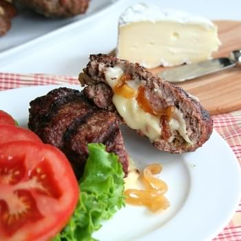 Brie and Caramelized Onion Stuffed Burgers