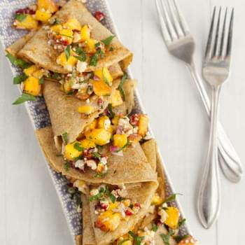 Savory Rye Crepes with Peaches and Blue Cheese