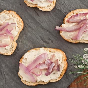 Creamy Blue Cheese and Onion Crostini