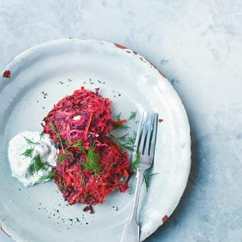 Beet and Carrot Fritters with Yogurt Dill Sauce