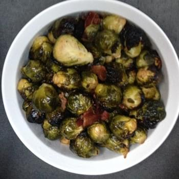 Sous Vide 1 hour brussel sprouts with bacon and garlic