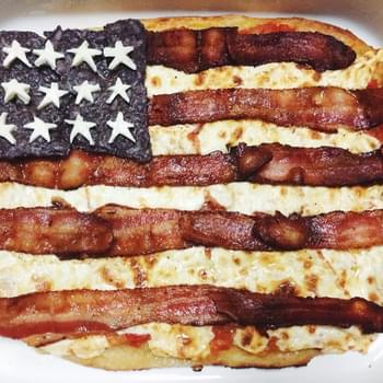 American Flag Pizza with Bacon