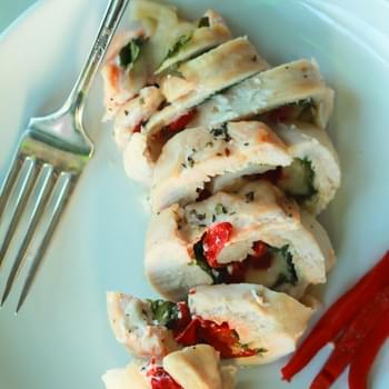 Roasted Red Pepper & Kale Stuffed Chicken Breasts