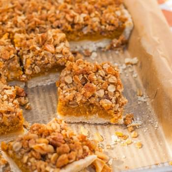 Pumpkin Slab Pie with Ginger-Pecan Streusel Topping