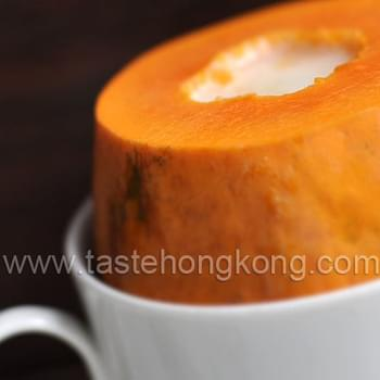 Steamed Papaya with Chinese South Almond Milk