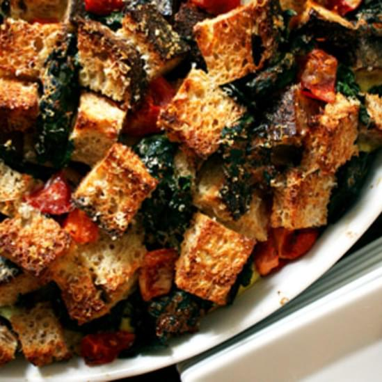 Kale and Tomato Bread Pudding